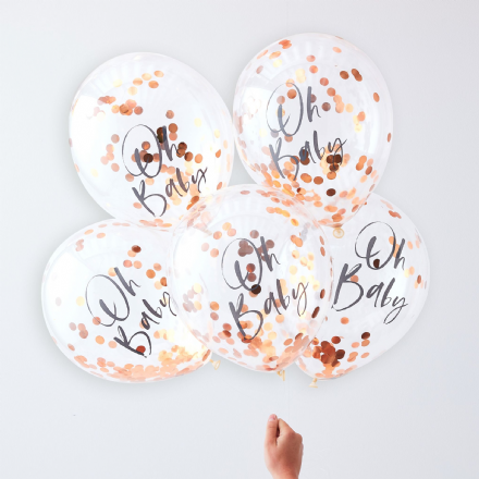"Rose Gold ""Oh Baby"" Balloons"